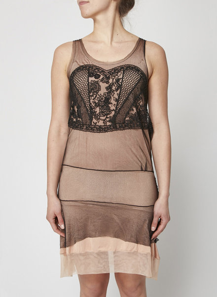 Christian Dior BEIGE AND BLACK EMBROIDERED TULLE AND SILK DRESS