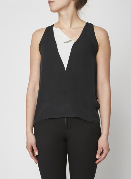 A.L.C. BLACK AND WHITE SLEEVELESS SILK TOP