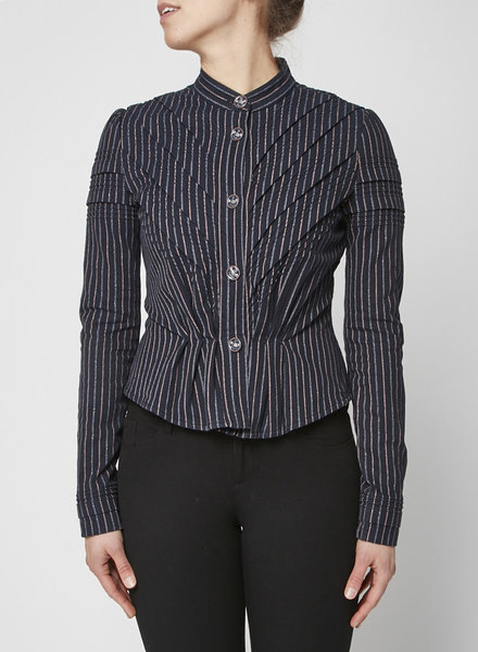Chanel BLUE STRIPED COTTON BLAZER WITH METALLIC THREADS