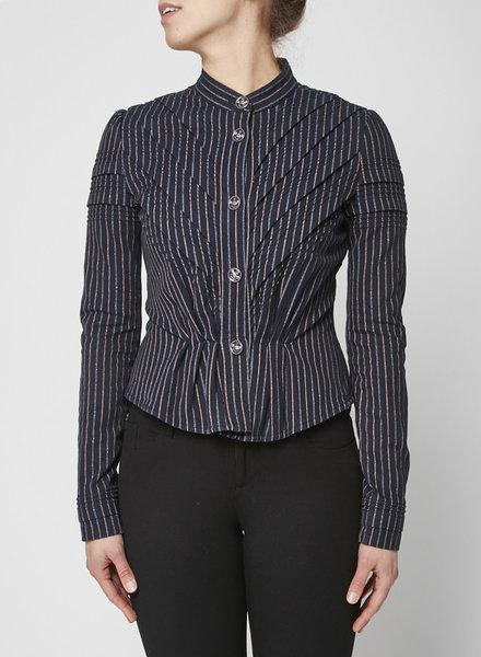 Chanel VESTON BLEU RAYÉ EN COTON À FILS MÉTALLISÉS