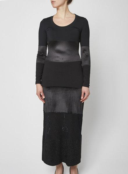 Moschino Jeans BLACK PATCHWORK MAXI DRESS