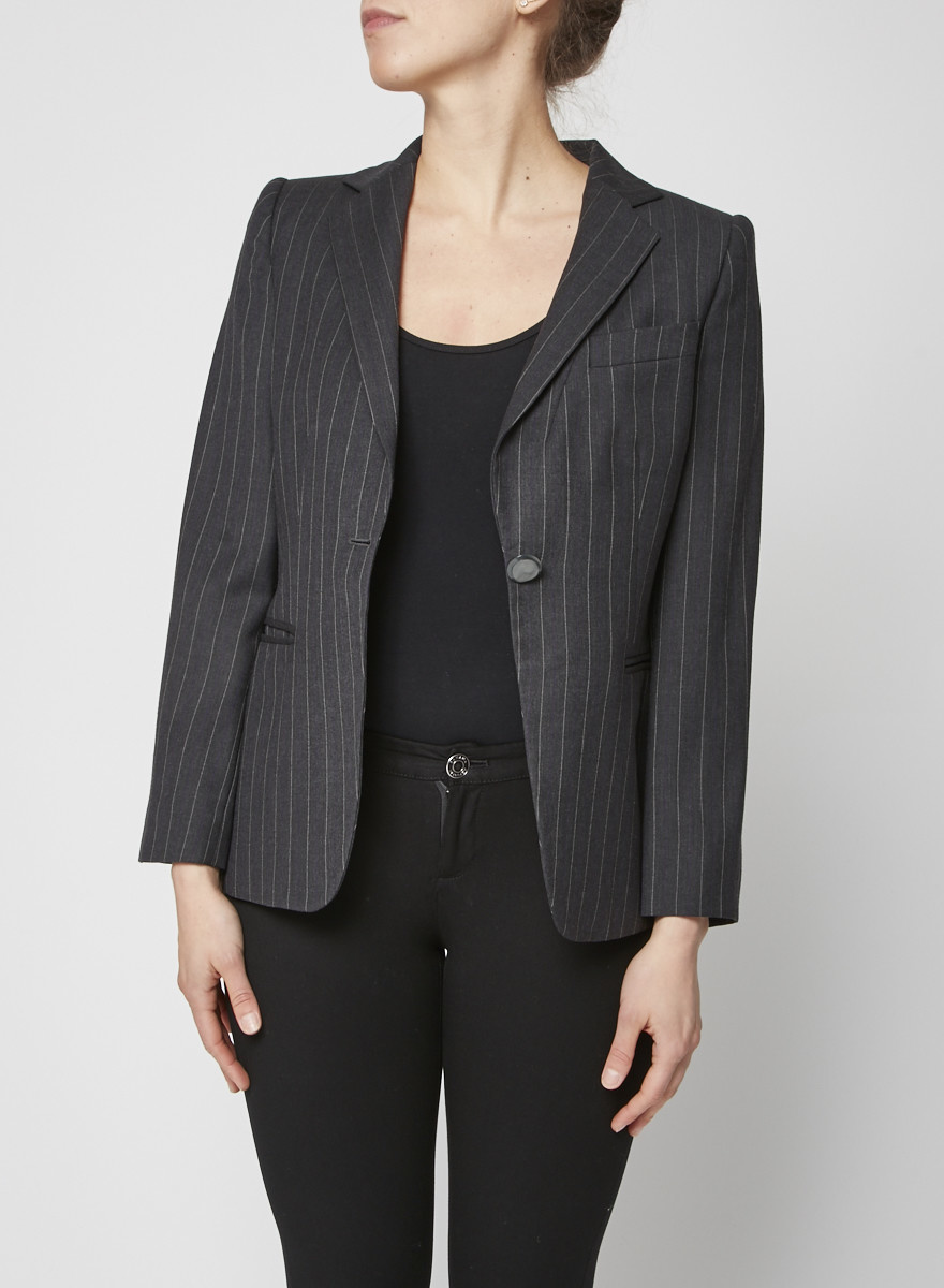 Giorgio Armani Grey Striped Blazer