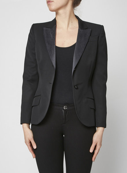 Alexander McQueen BLACK WOOL AND SILK-PANELED BLAZER