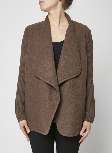 Vince BROWN WOOLEN CARDIGAN WITH KNITTED SLEEVES