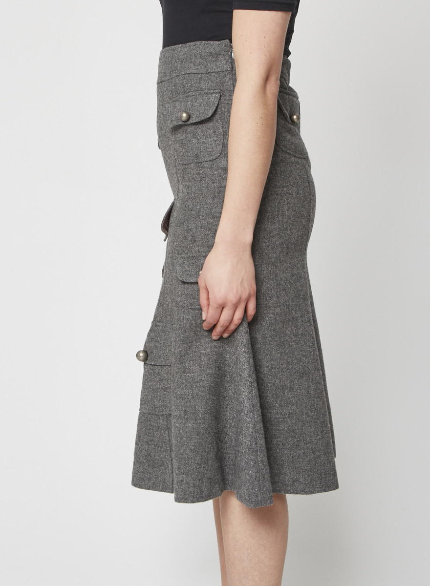 Moschino Cheap and Chic NEW PRICE (WAS $140) - GREY WOOL SKIRT WITH PATCH POCKETS