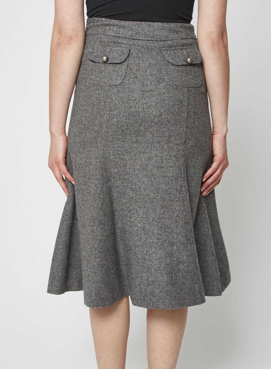 Moschino Cheap and Chic Grey wool skirt with patch pockets