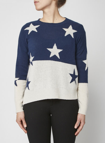 360 Cashmere WHITE AND BLUE CASHMERE SWEATER