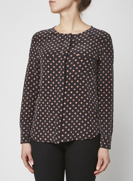 Equipment BLACK PRINT BLOUSE WITH ROUND COLLAR