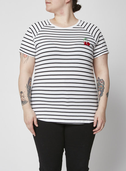 South Parade STRIPED TEE WITH EMBROIDERED CHERRY - NEW