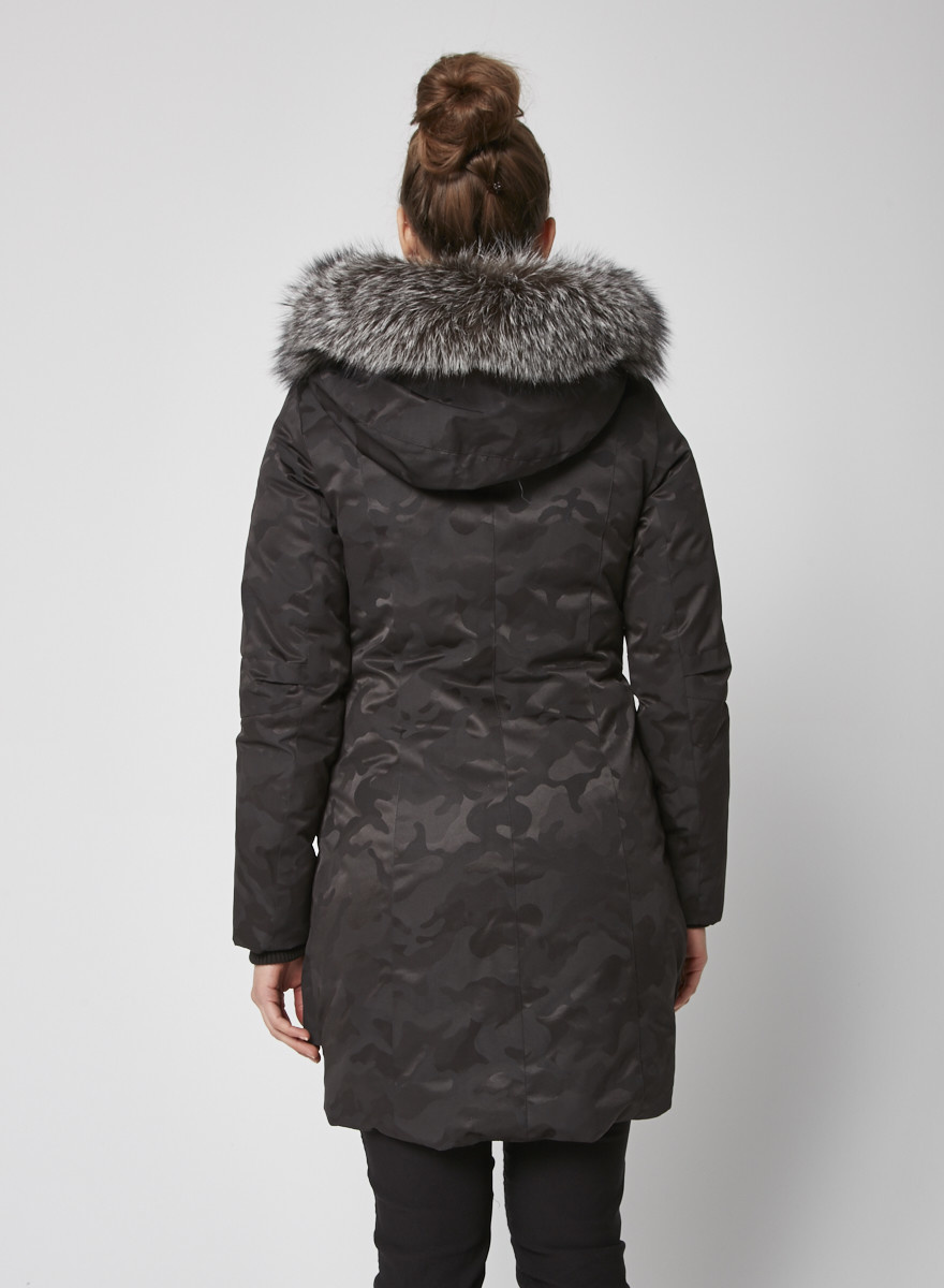 Kanuk Black coat with camo print