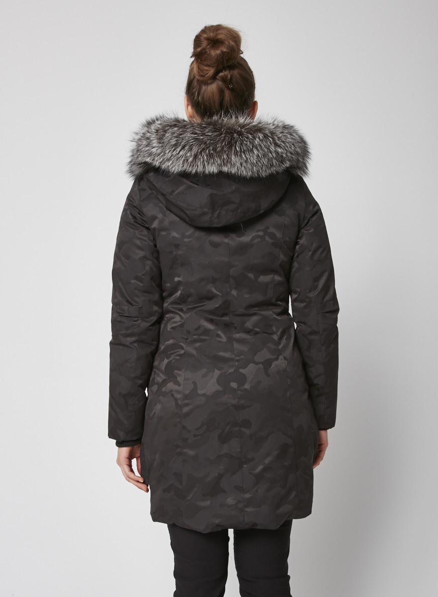 Kanuk Manteau noir imprimé camouflage