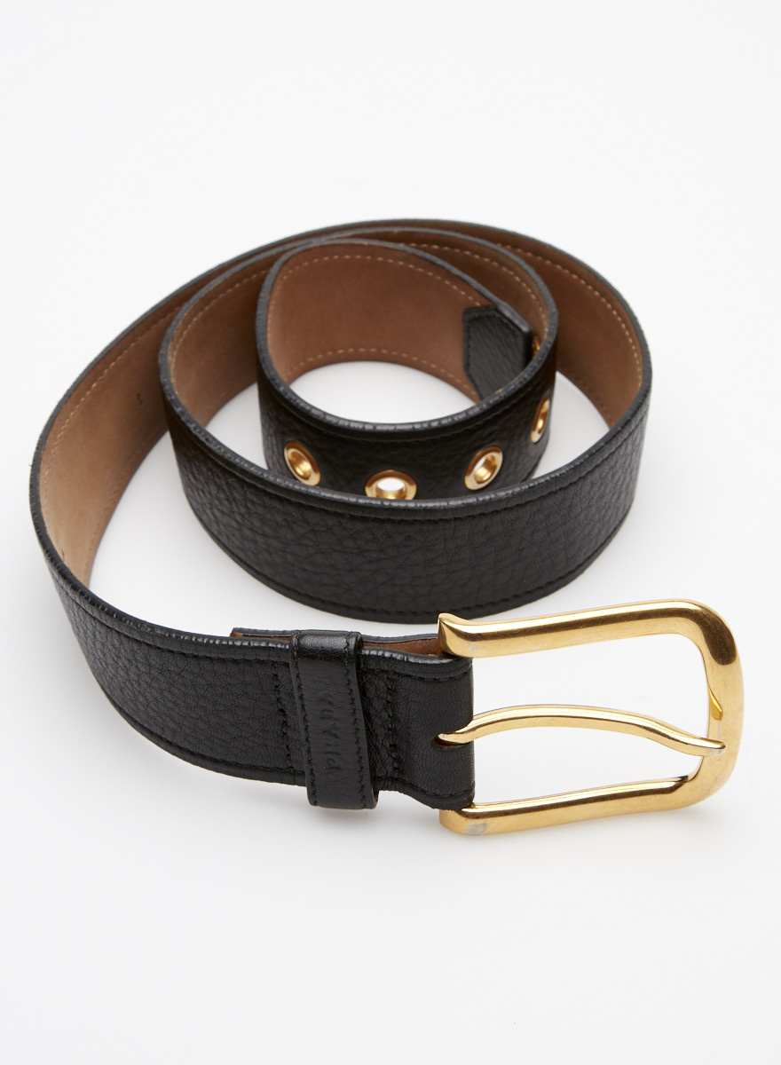 Prada Black Leather Belt with Gold-Tone Buckle