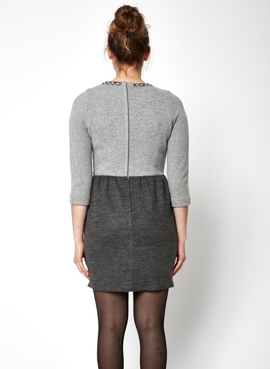 Sandro GREY WOOL & CASHMERE DRESS WITH JEWEL COLLAR