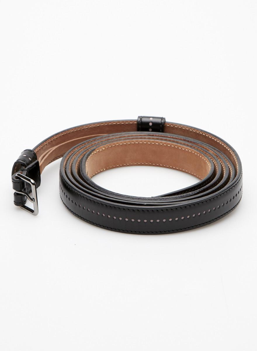 Alaïa Paris Pink Eyelet-Embellished Black Leather Wrap Belt