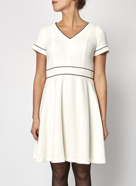 Shoshanna OFF-WHITE DRESS WITH BLACK LINES