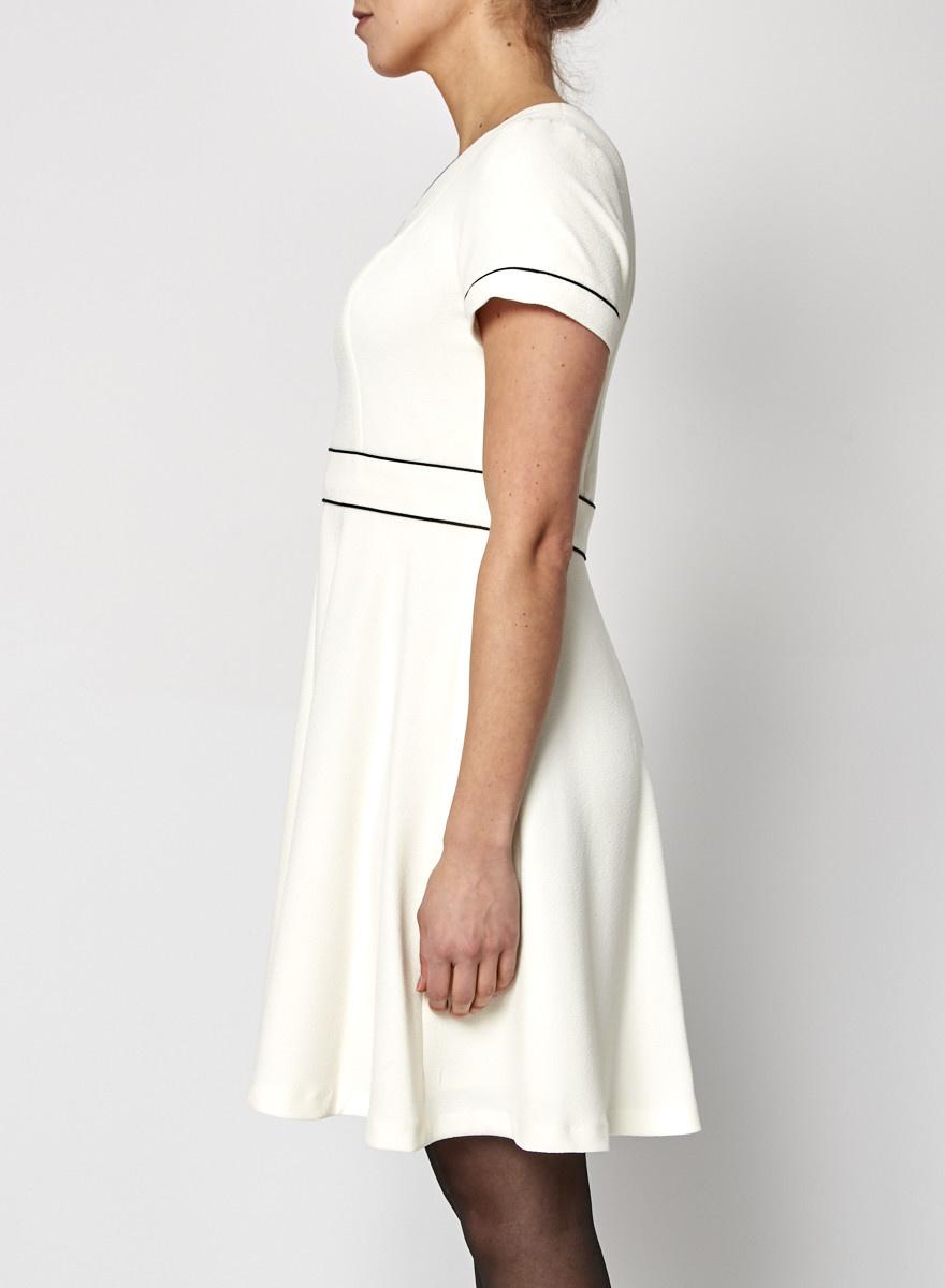 Shoshanna Off-White Dress with Black Lines