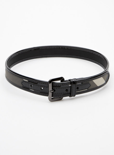 Burberry BURBERRY CHECKED CANVAS AND LEATHER PATENT BELT