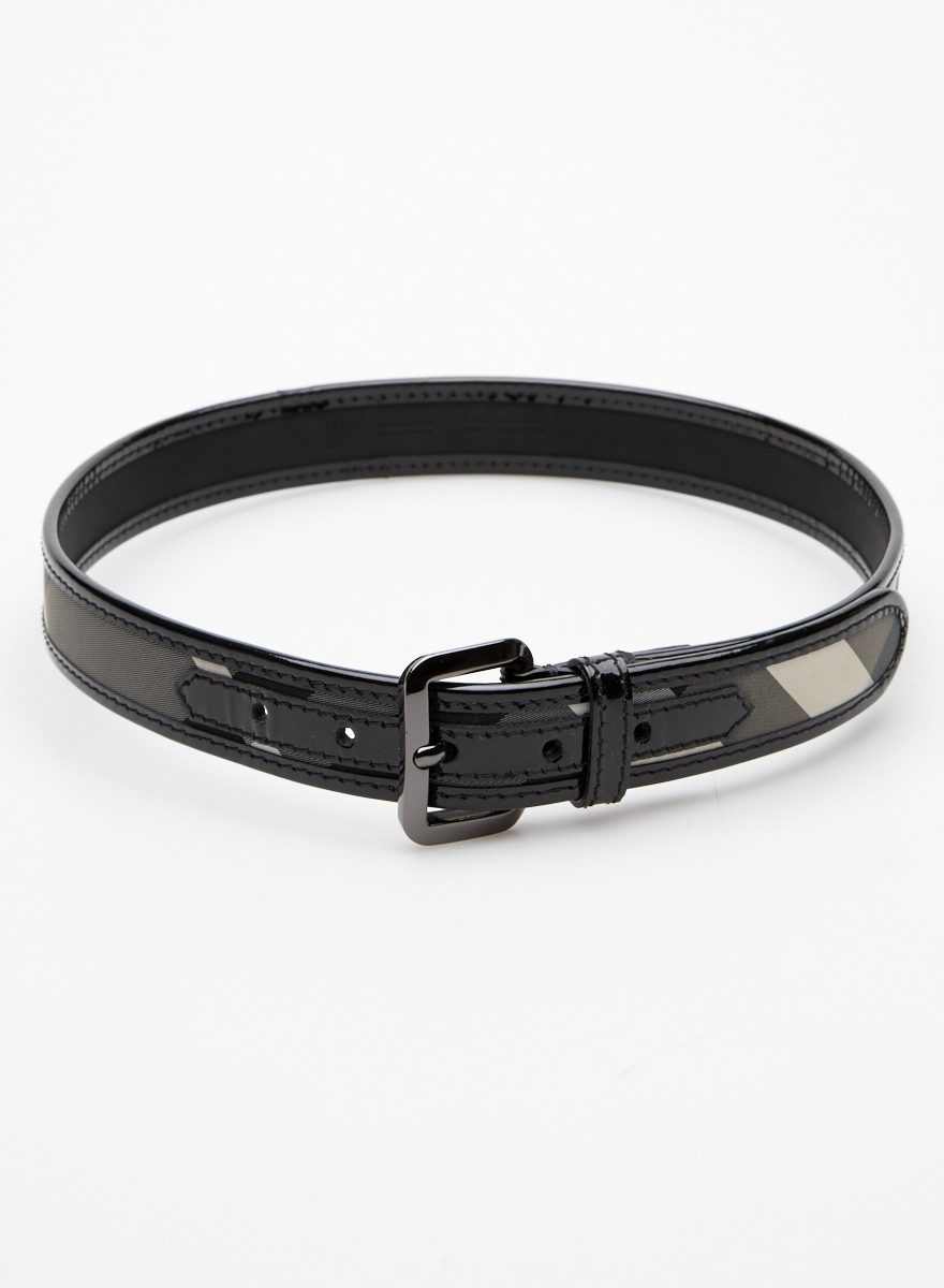Burberry Burberry Checked Canvas and Patent Leather Belt