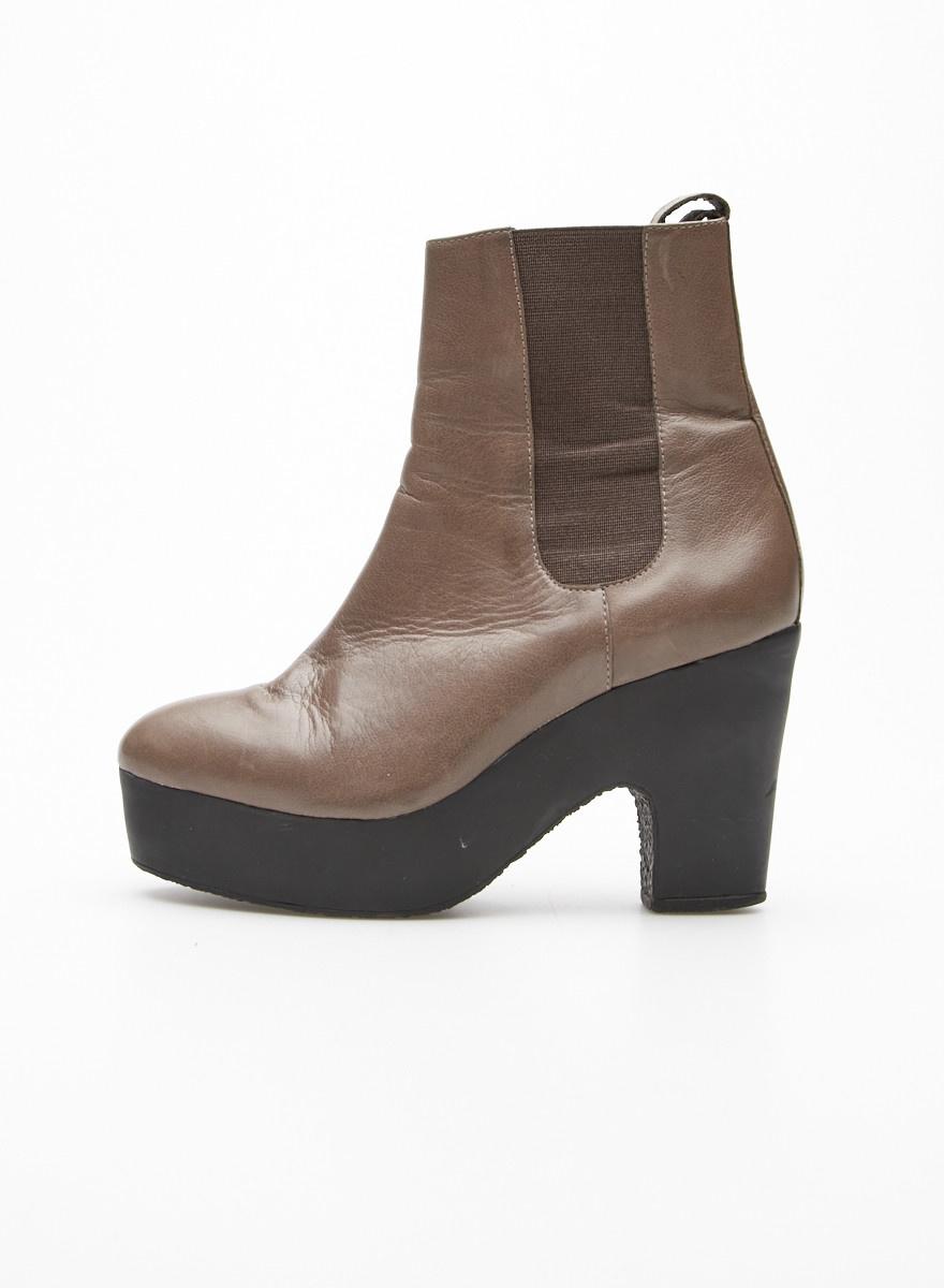 Loeffler Randall Khaki Platform Chelsea Boots