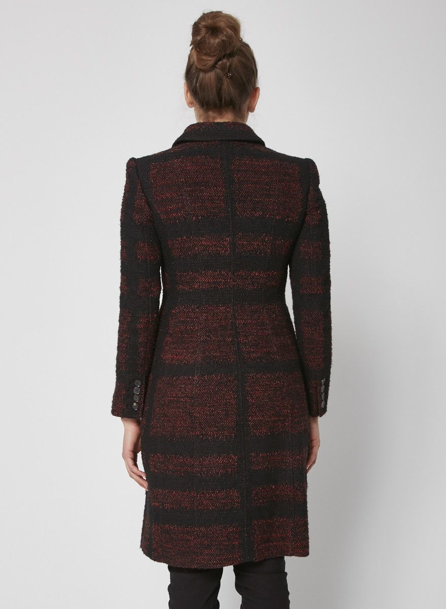 Burberry Black and red tweed coat