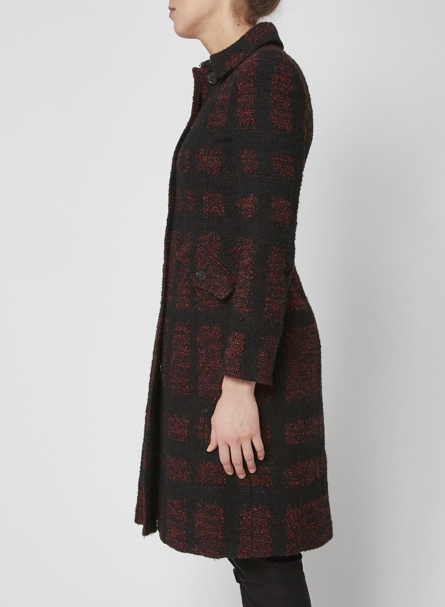 Burberry Manteau en tweed noir et rouge