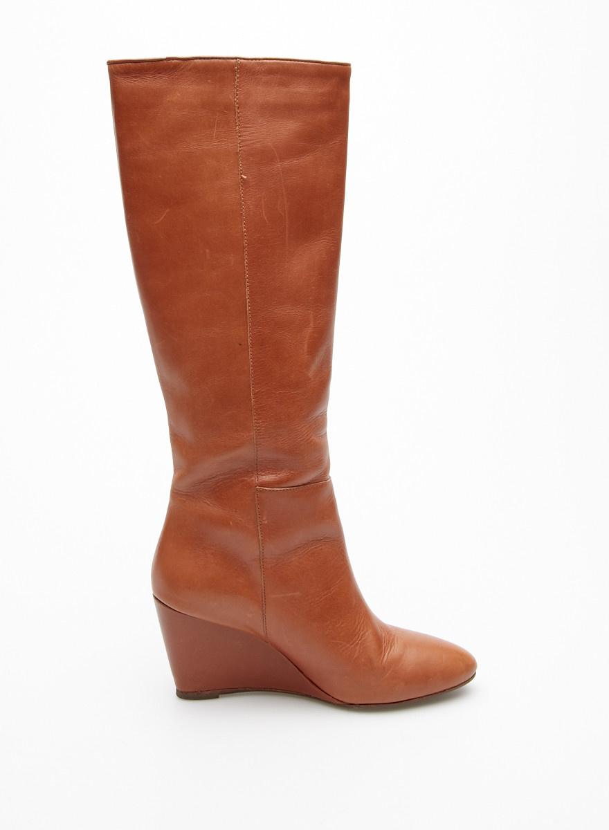 Loeffler Randall Brown Leather Wedge Boots