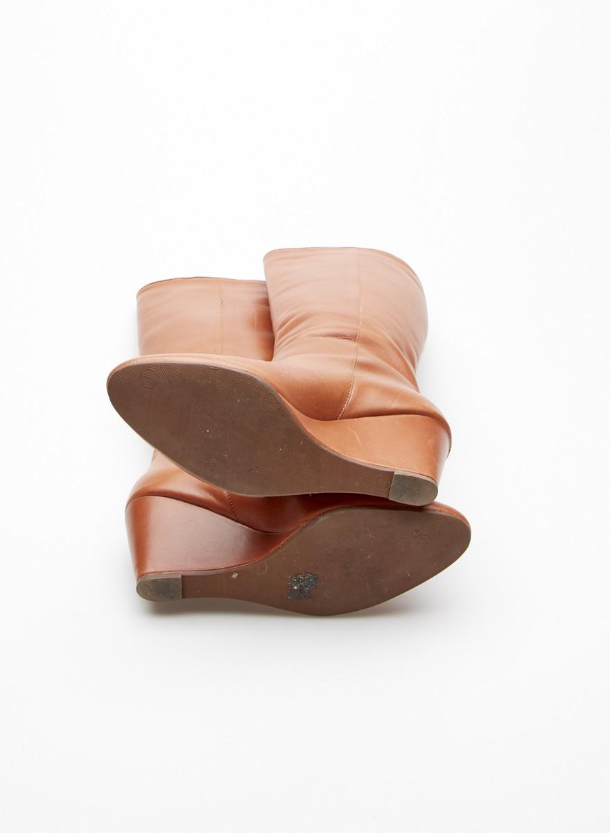 Loeffler Randall Bottes compensées en cuir marron