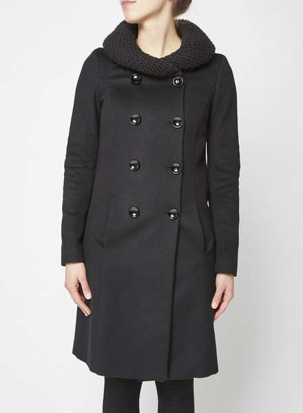 Patrizia Pepe BLACK DOUBLE-BREASTED WOOL COAT WITH KNITTED COLLAR
