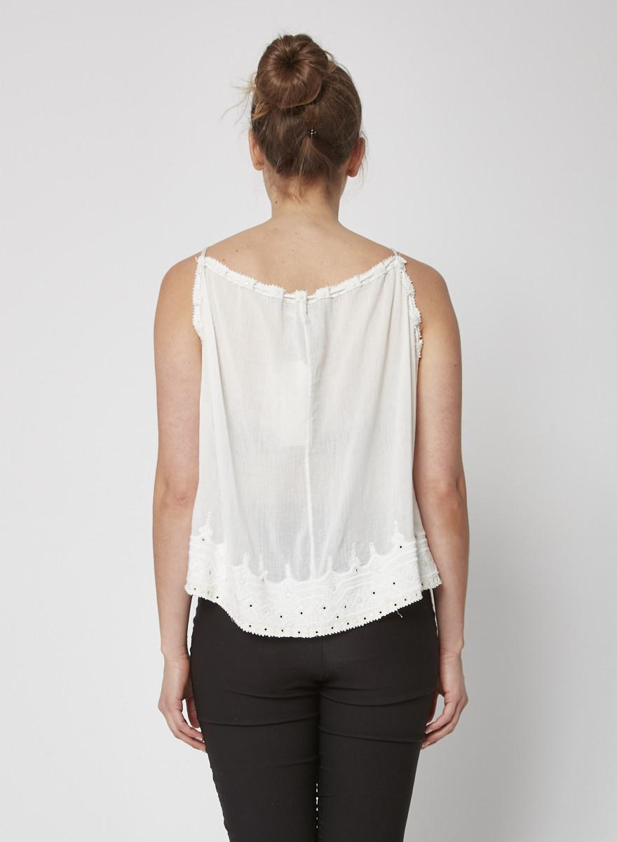 Isabel Marant White Eyelet-Embellished Embroidered Cotton Top