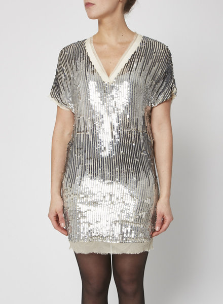 Haute Hippie SILVER SEQUINED DRESS