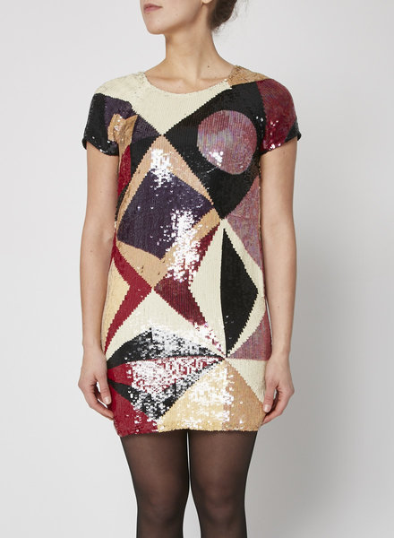 Catherine Malandrino GEOMETRIC SEQUINED DRESS