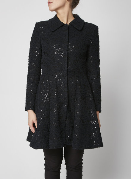 Alice + Olivia BLACK SEQUINED COAT WITH LACE OVERLAY