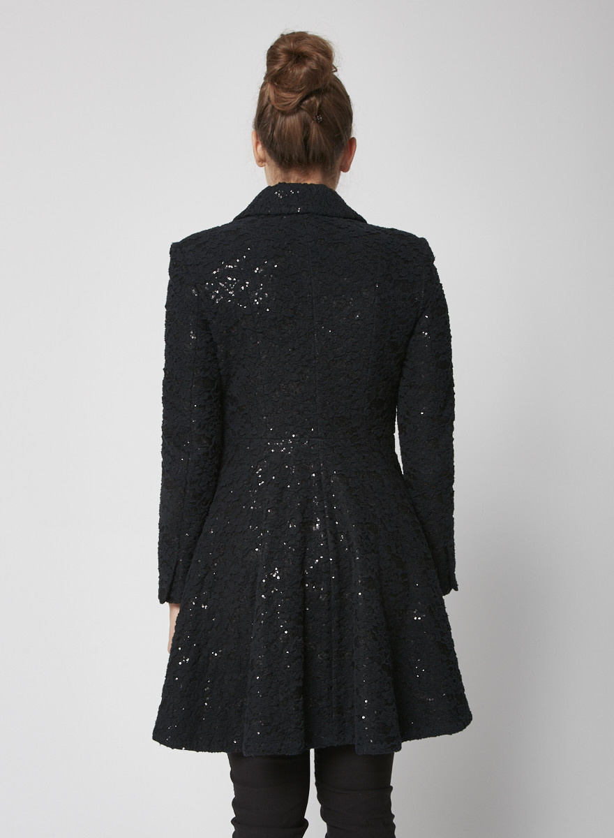 Alice + Olivia Black Sequinned coat with Lace overlay