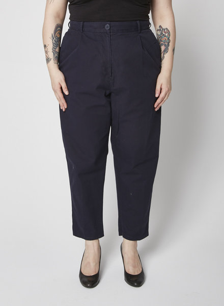 COS NAVY PLEATED COTON PANT