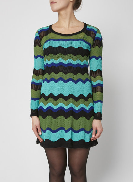 M Missoni BLUE & GREEN CROCHET-KNIT DRESS
