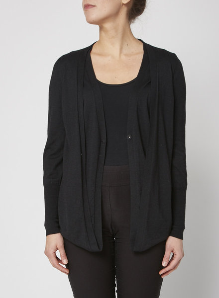 Brunello Cucinelli BLACK DOUBLE FRONT CARDIGAN