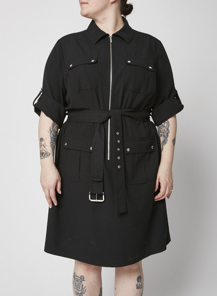 MICHAEL Michael Kors BLACK UTILITY BELTED SHIRT DRESS