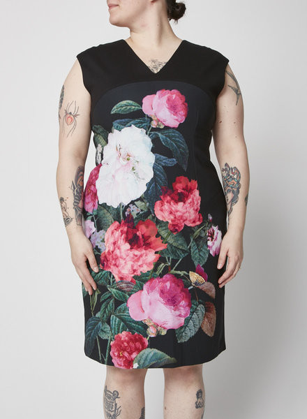 Ellen Tracy BLACK FLORAL-PRINT DRESS