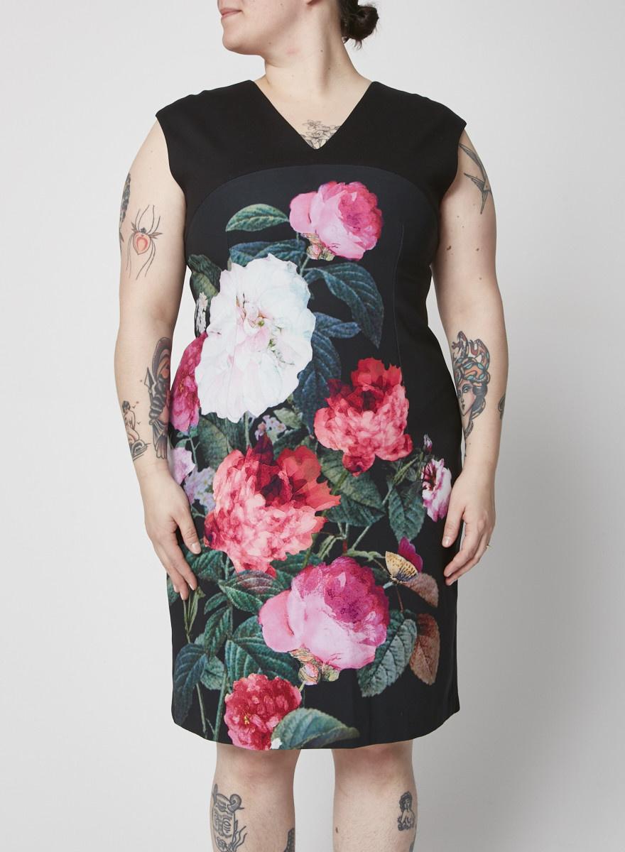 Ellen Tracy Robe noire fleurie