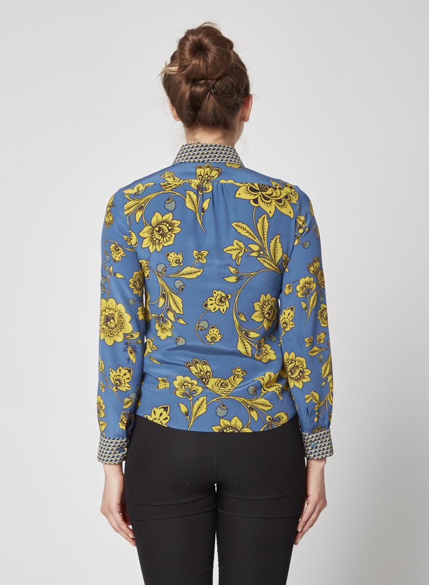 Weekend Max Mara Chemisier bleu en soie  avec imprimé d'oiseaux jaunes