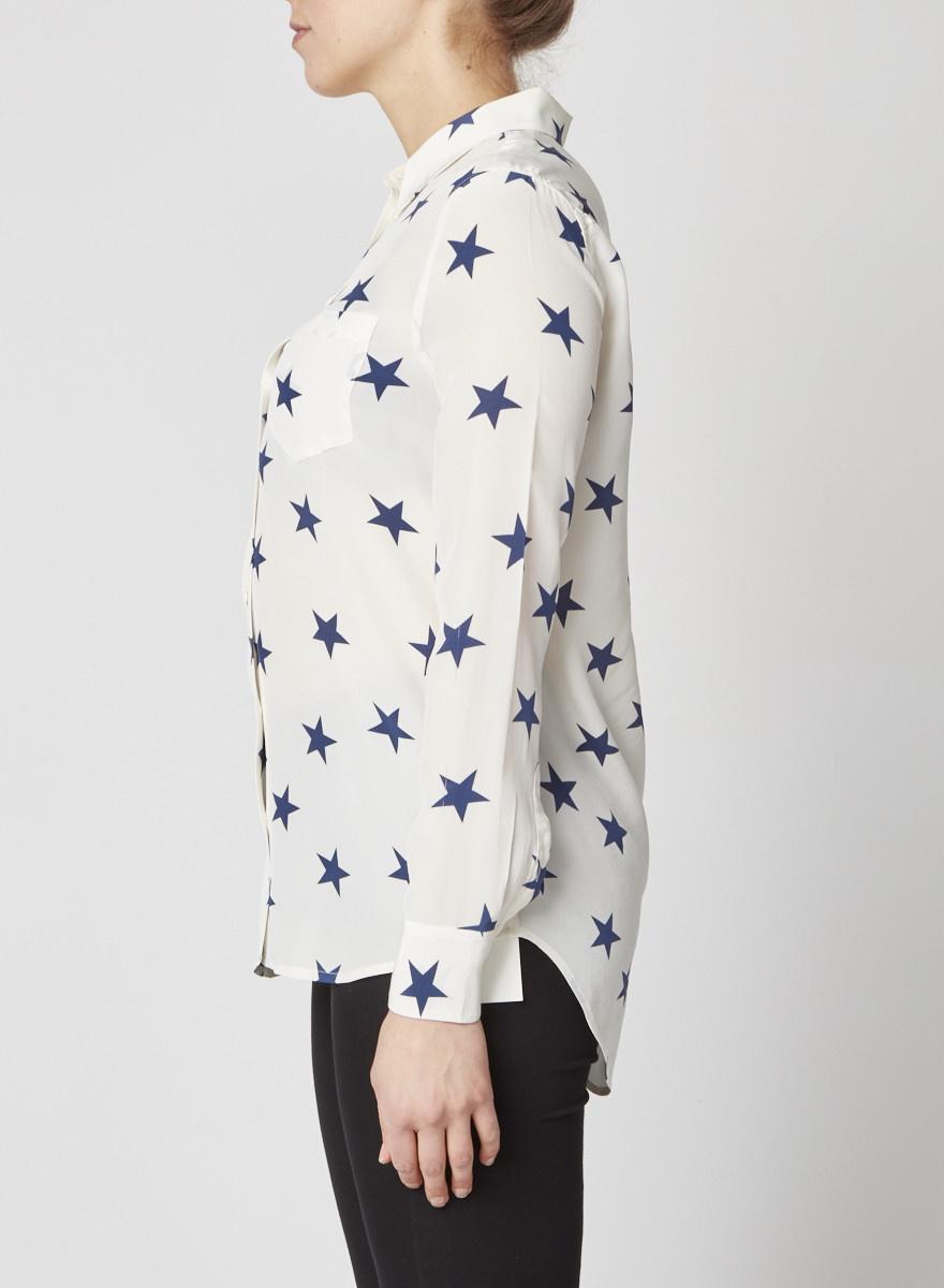 Equipment White Silk Shirt with Blue Star Print