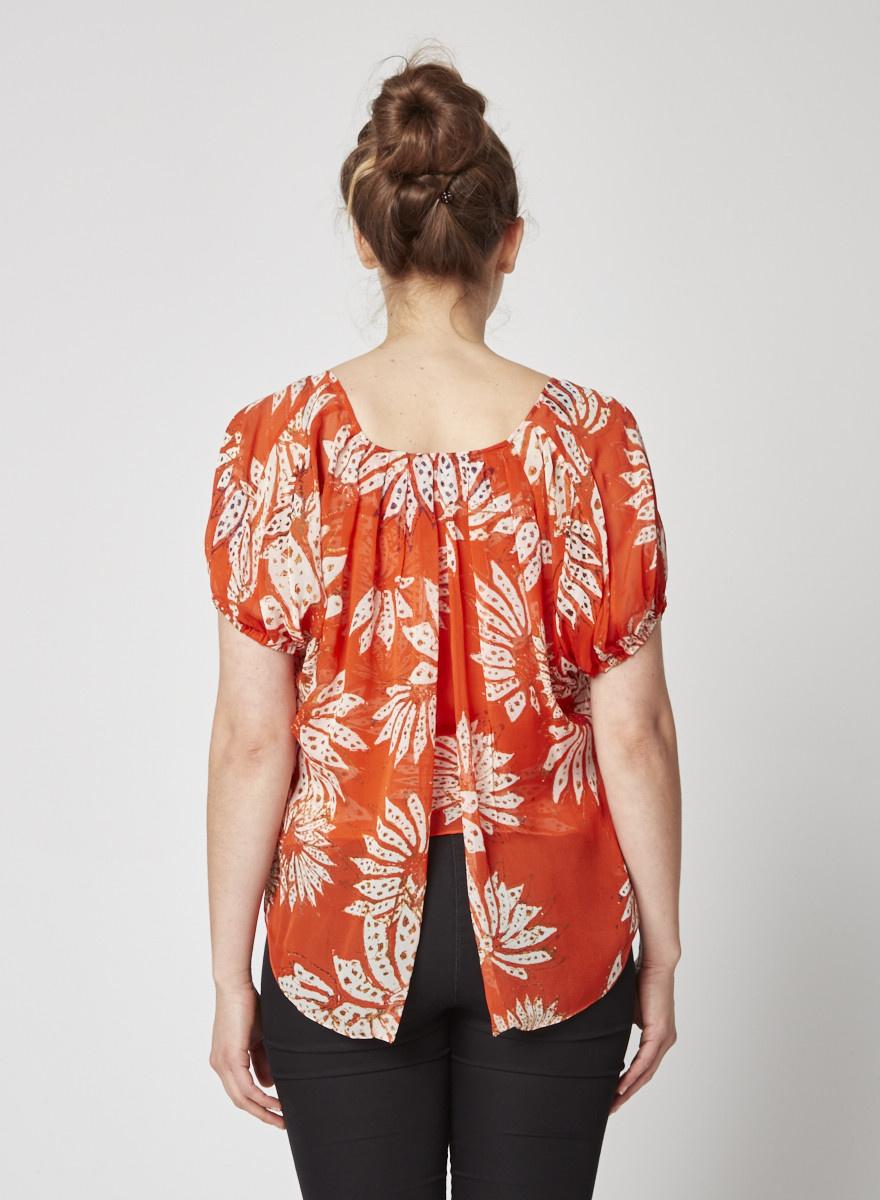 Diane von Furstenberg Orange Chiffon Peasant top with Floral Print