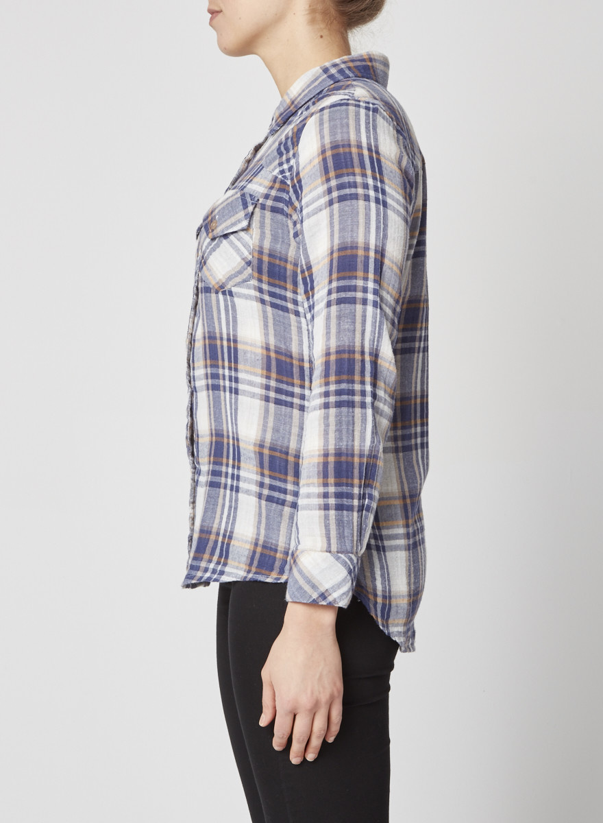 Rails Button up Shirt in Blue, White and Yellow Plaid