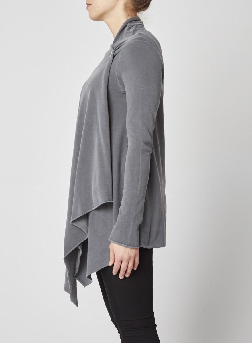 Splendid Charcoal Grey Draped Fleece Cardigan