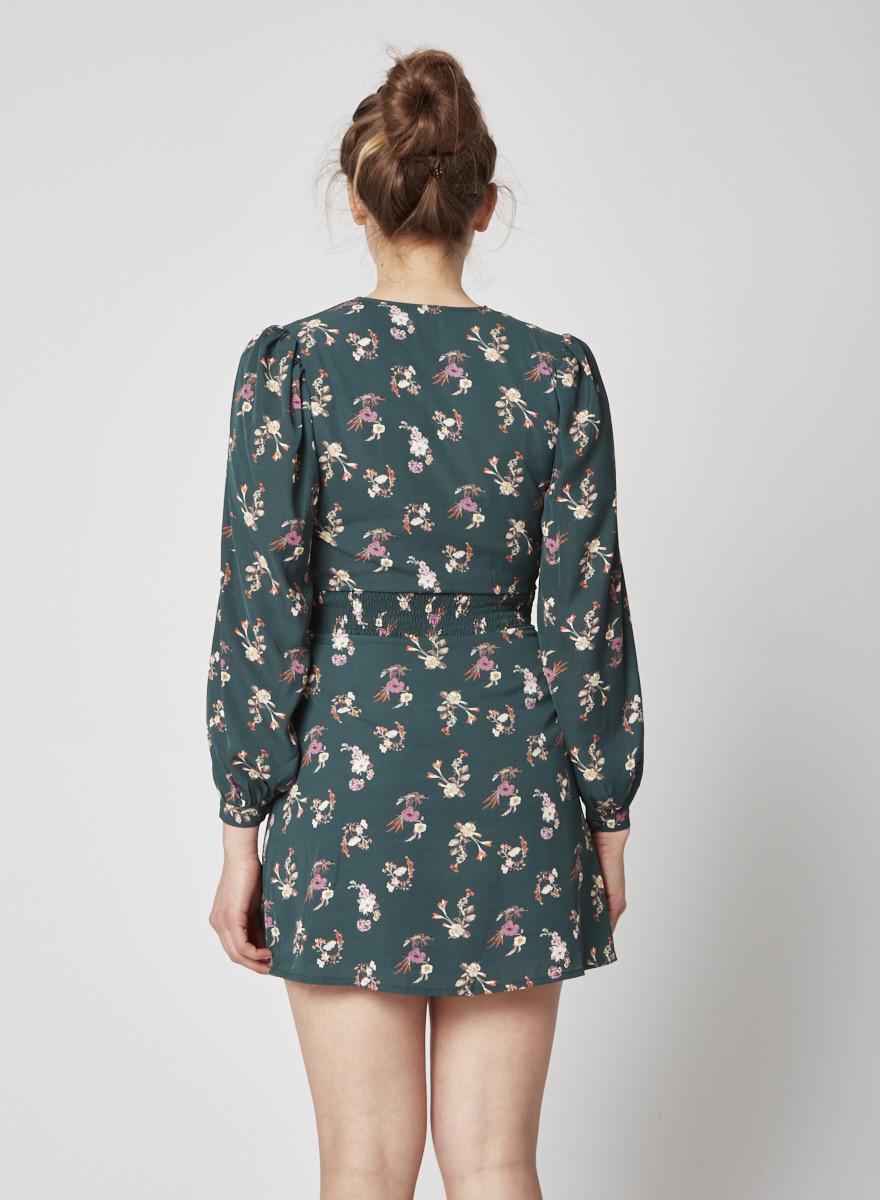 Heartloom Green Floral print Wrap dress