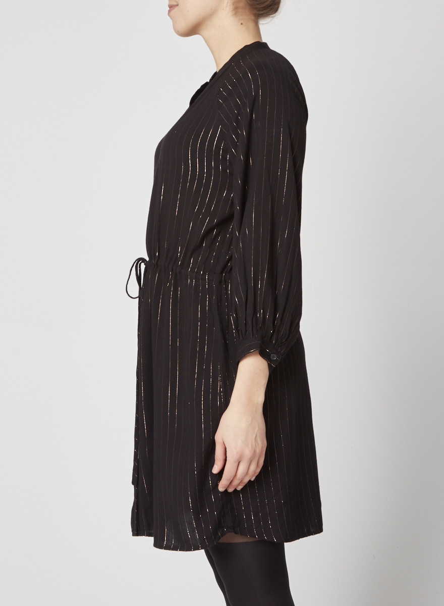 Rails Black Dress with Metallic Gold Stripes
