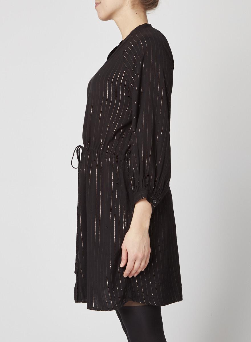 Rails Robe noire à rayures dorées