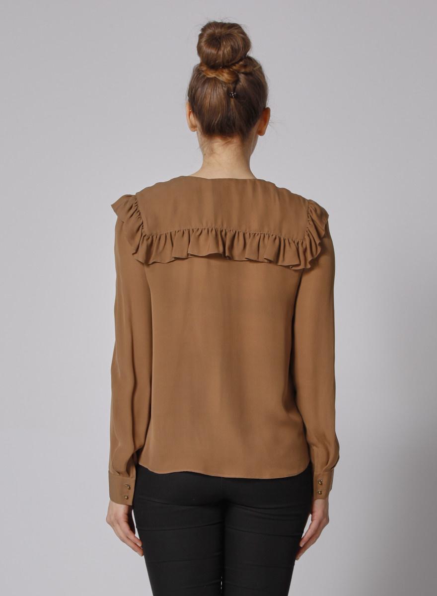 Chloé Brown Silk Blouse Frilled Bib