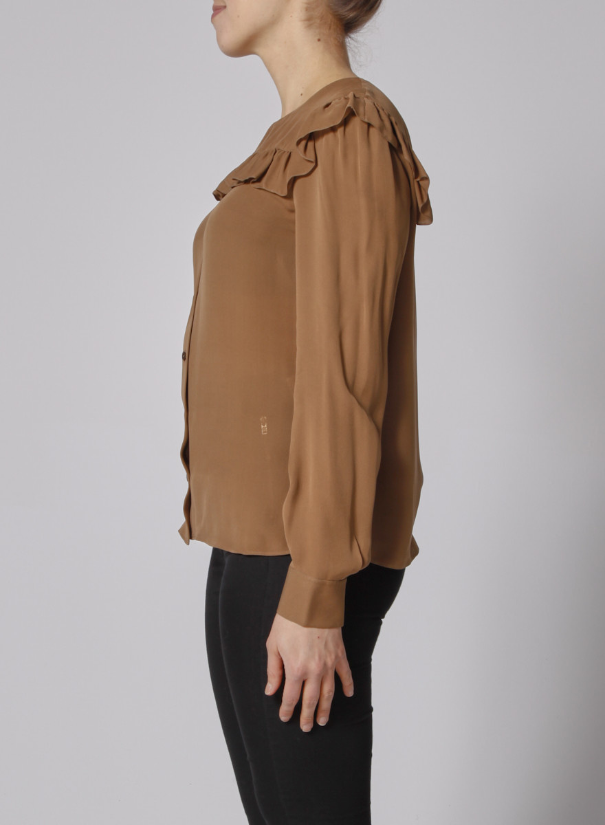 Chloé Brown Silk Blouse Frilled Bib