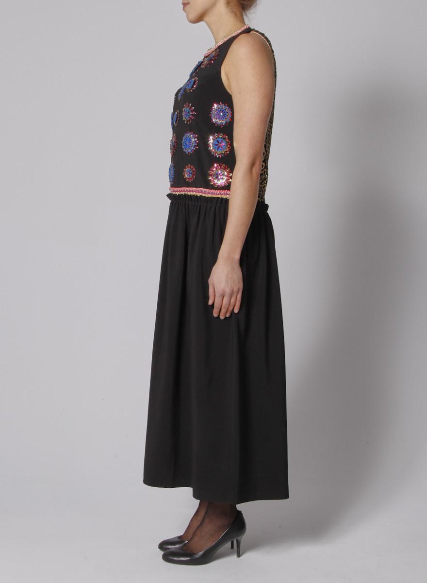 Manish Arora Robe longue noire à broderies